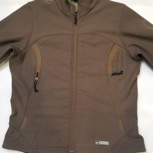 REI Women Brown Soft Shell Full Zip Jacket Medium